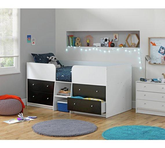 Buy Argos Home Malibu Shorty Midsleeper - Black & White | Kids beds ...