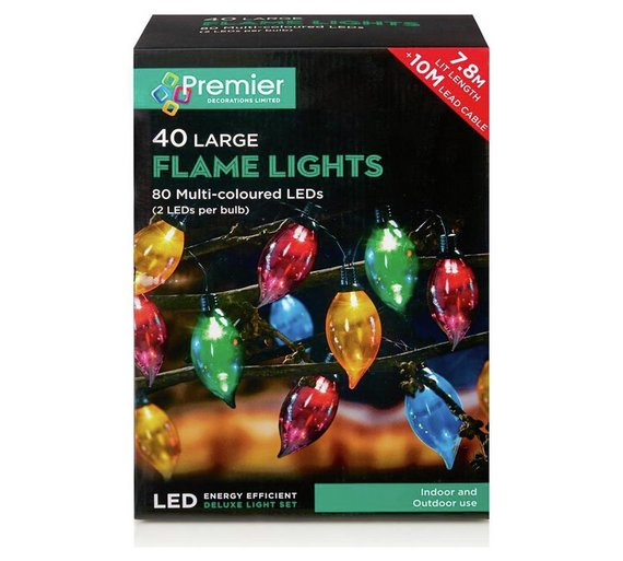 premier decorations set of 40 flame lights multicoloured