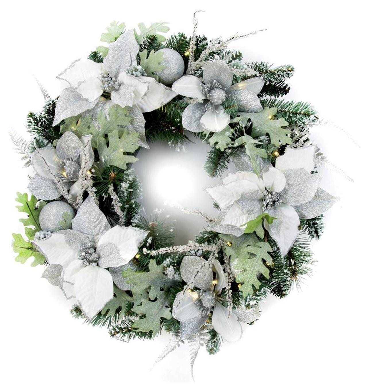 premier-decorations-60cm-pre-lit-poinsettia-wreath-white