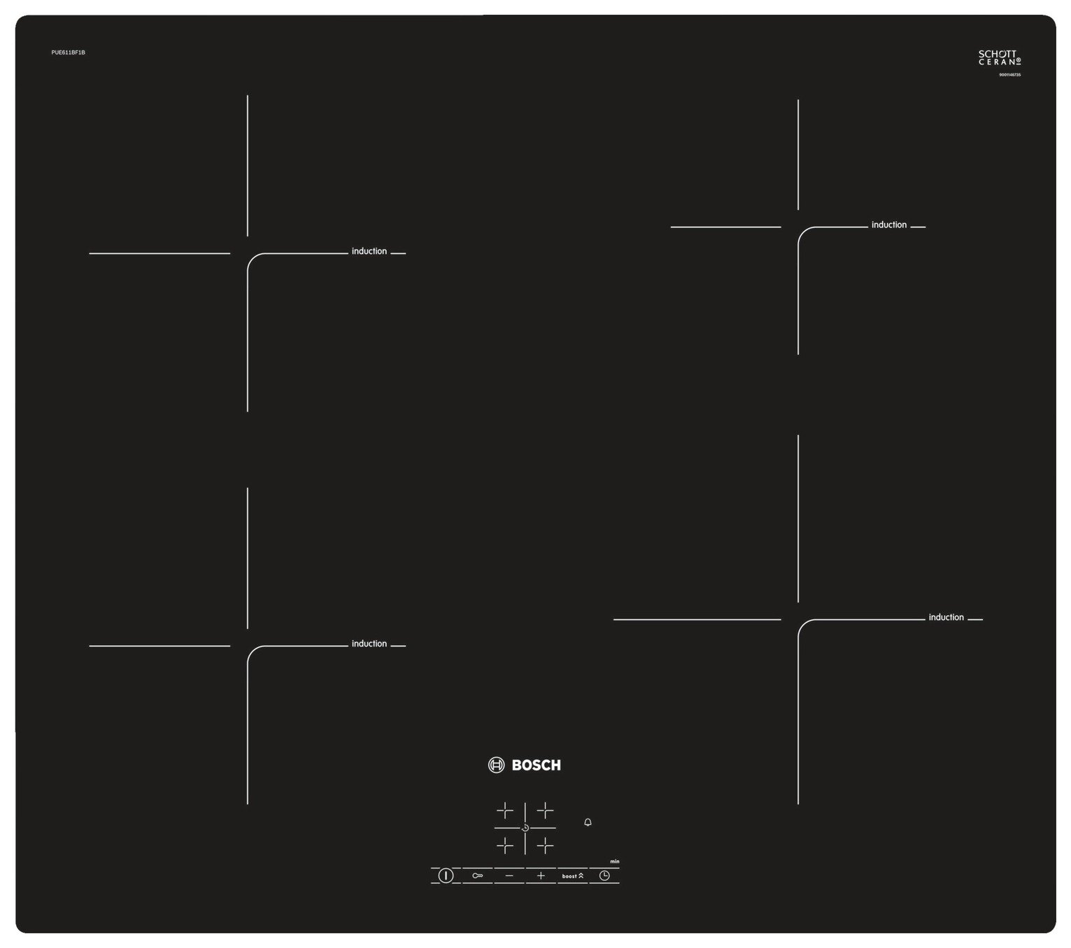 Bosch PUE611BF1B Electric Induction Hob - Black