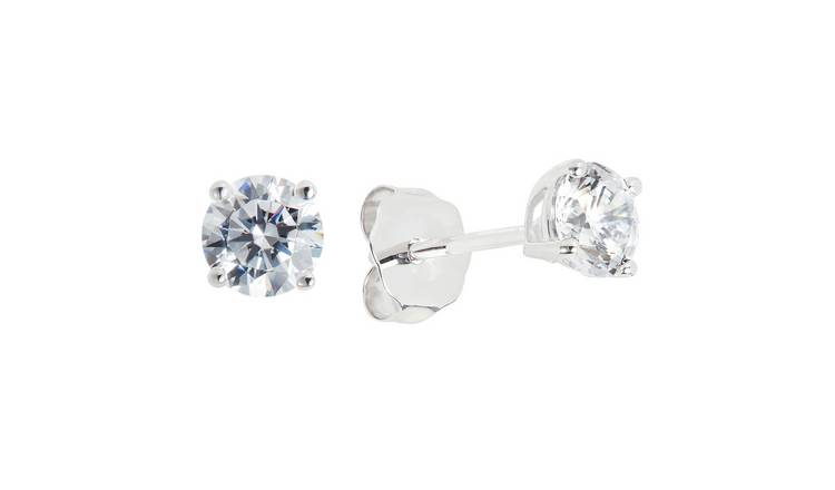 Revere 9ct White Gold 4 Claw Cubic Zirconia Studs Earrings