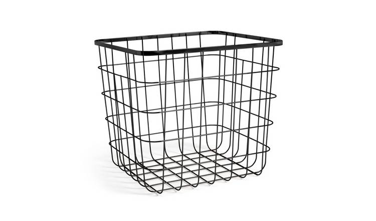 Argos Home Flat Wire Squares Plus Storage Basket - Black