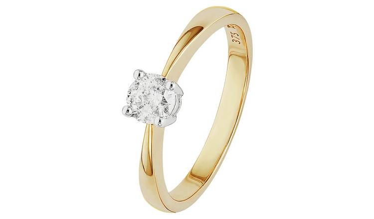 Revere 9ct Gold 0.33ct Diamond Solitaire Ring - L
