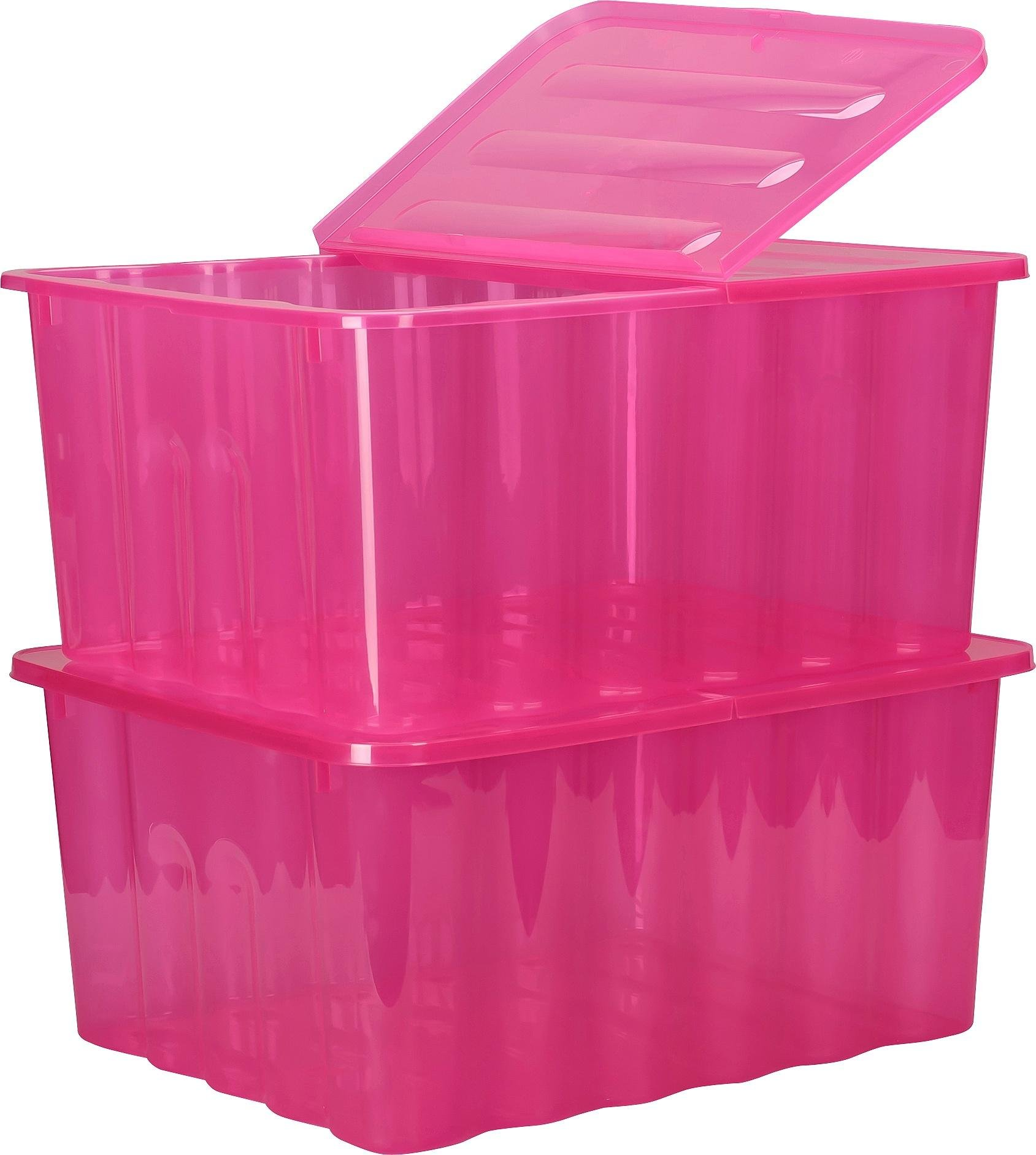 Buy Argos Home Pair of Plastic Storage Boxes Pink Plastic