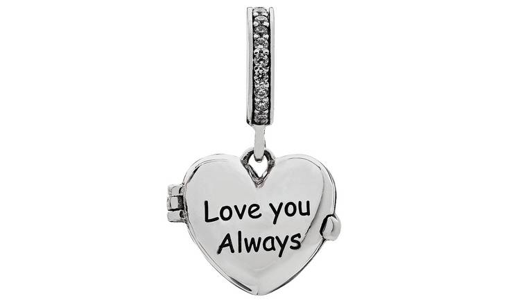 Moon & Back Sterling Silver 'Love You Always' CZ Drop Charm