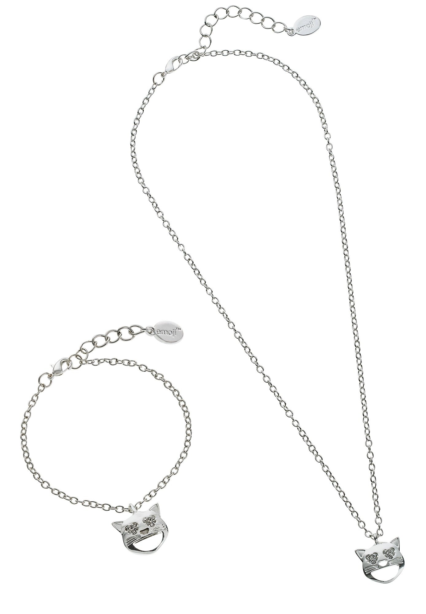 Image of Emoji Silver Colour Cat Pendant and Bracelet Set