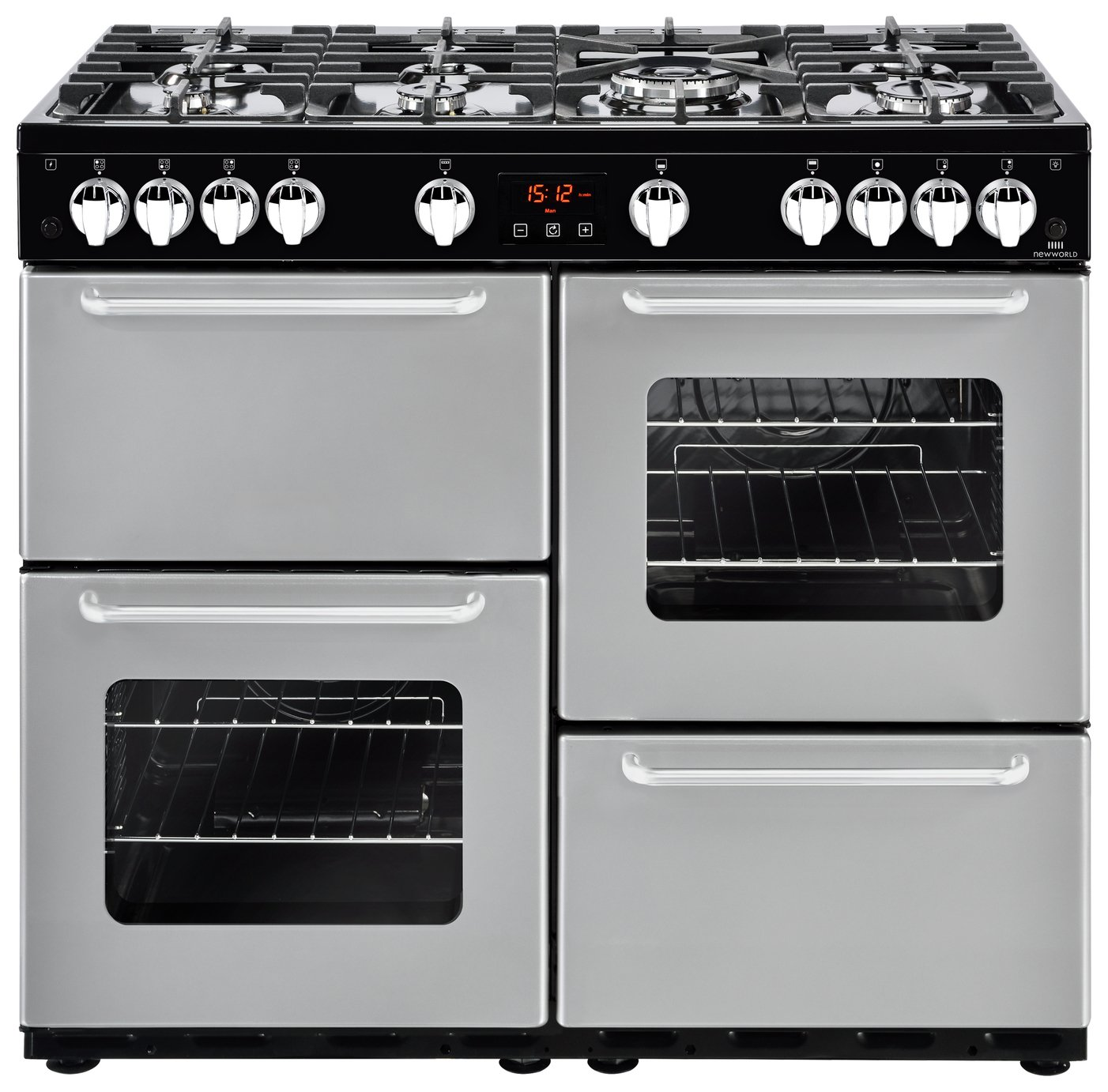 New World Traditional Gas Range Cooker - Silver.