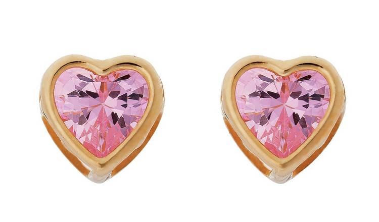 98868e804 Buy Revere Kid's 9ct Gold Pink CZ Heart Stud Earrings | Kids earrings ...