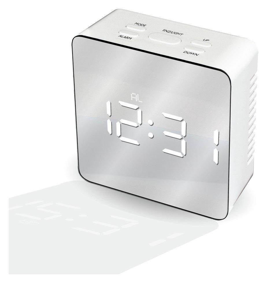 Mayhem UK White Ice LED Mirrored Alarm Clock