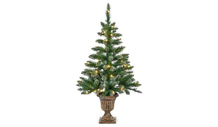 Flocked Pre Lit Christmas Tree.Buy Premier Decorations 3ft Pre Lit Flocked Table Tree Brown Artificial Christmas Trees Argos