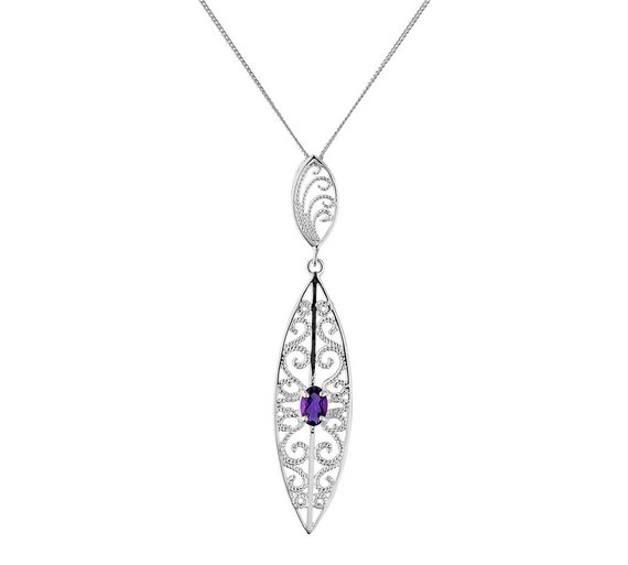 Buy revere sterling silver amethyst filigree pendant ladies click to zoom mozeypictures Images