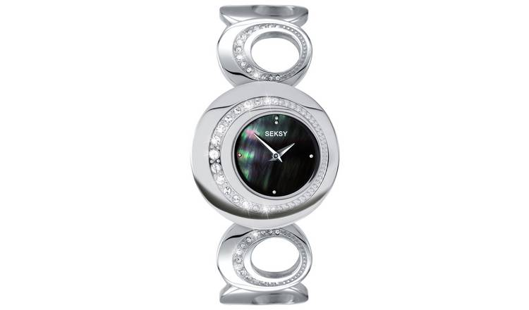 Seksy Ladies Stainless Steel Stone Set Watch