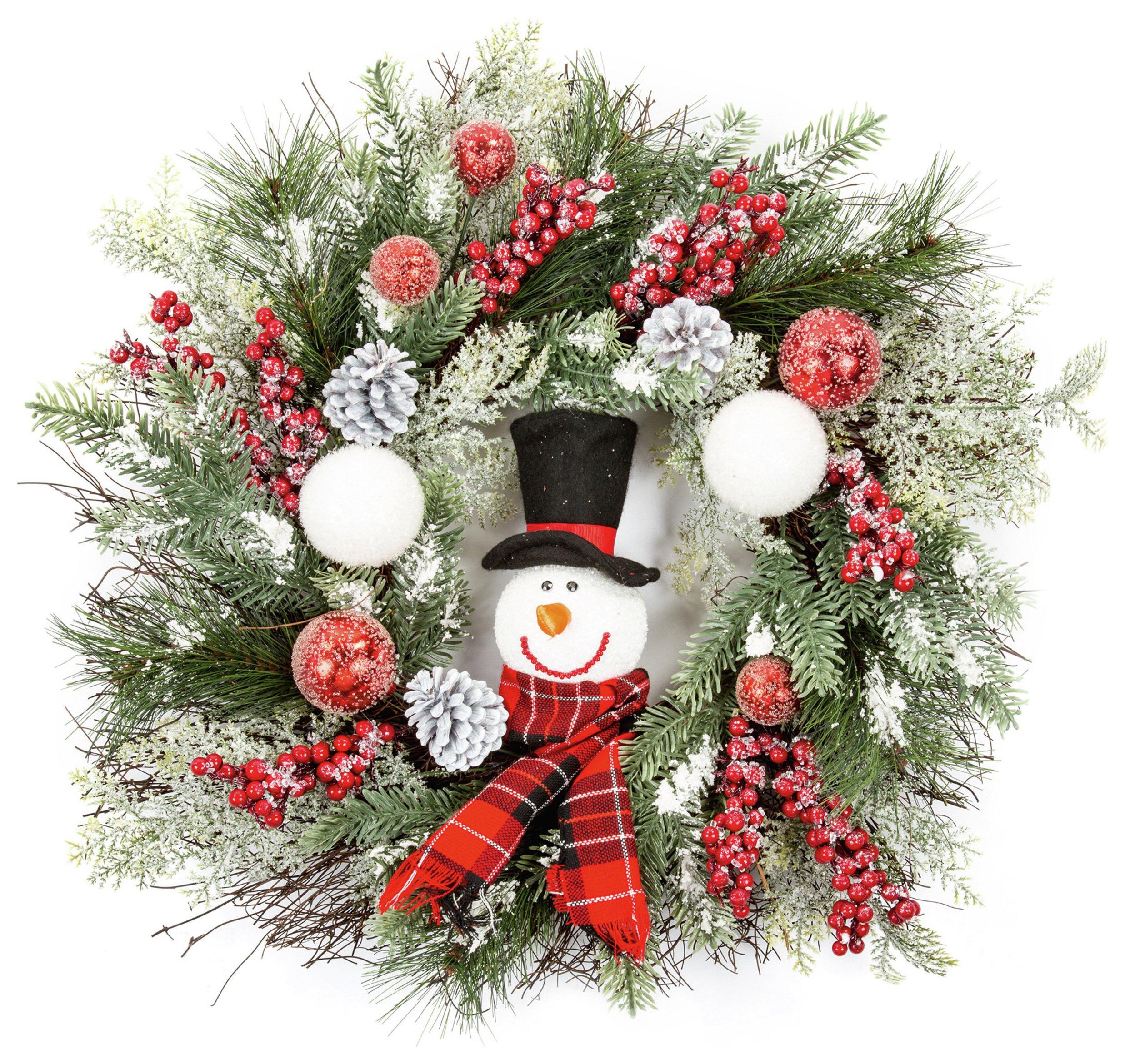 premier-decorations-60cm-snowman-wreath-green