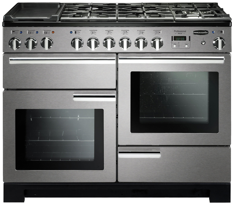 Image of Rangemaster Professional Deluxe 110cm Dual Fuel Cooker-Steel