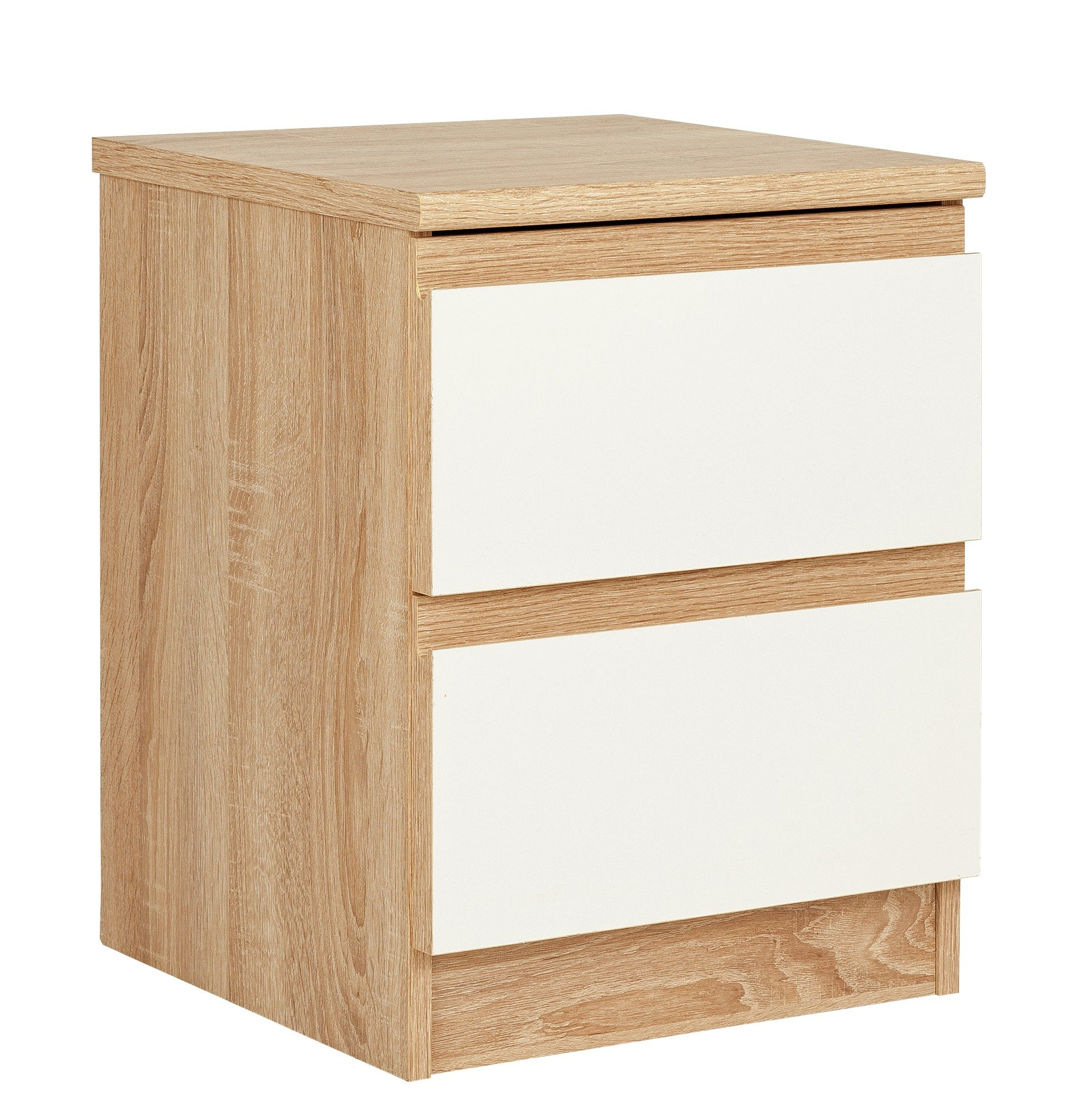 Avenue 2 Drawer Bedside Chest - Oak Effect and White Gloss