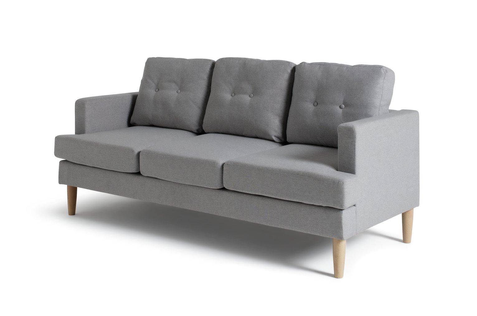 Habitat Joshua 3 Seater Fabric Sofa - Light Grey