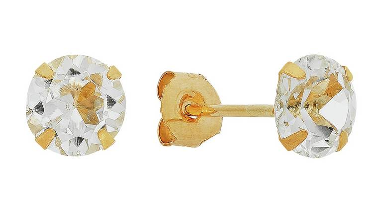 Revere 9ct Yellow Gold 5mm White Topaz April Stud Earrings