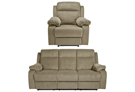 Collection New Bradley 3 Seater Recliner and Chair - Natural.