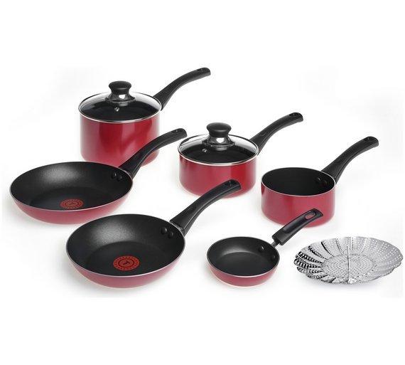 Buy Tefal 7 Piece Bistro Pan Set Red Pan Sets Argos