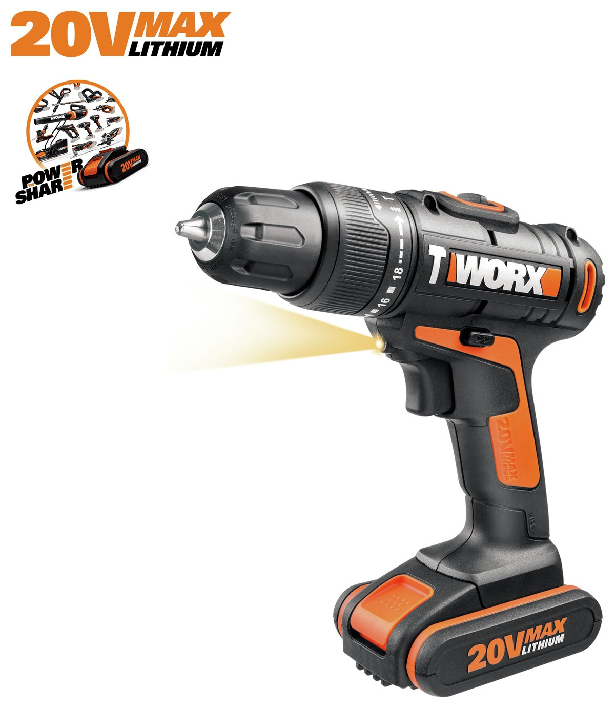 WORX WX366.2 1.5Ah Cordless Hammer Drill - 20V