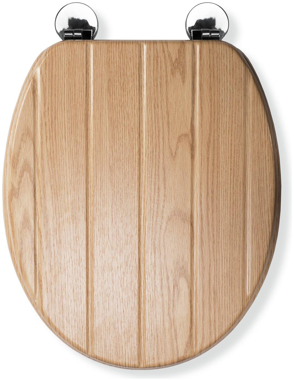 Croydex Geneva Flexi-Fix Toilet Seat - Oak Effect