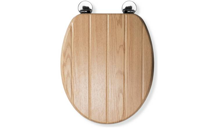 Croydex Geneva Flexi-Fix Toilet Seat - Oak Effect