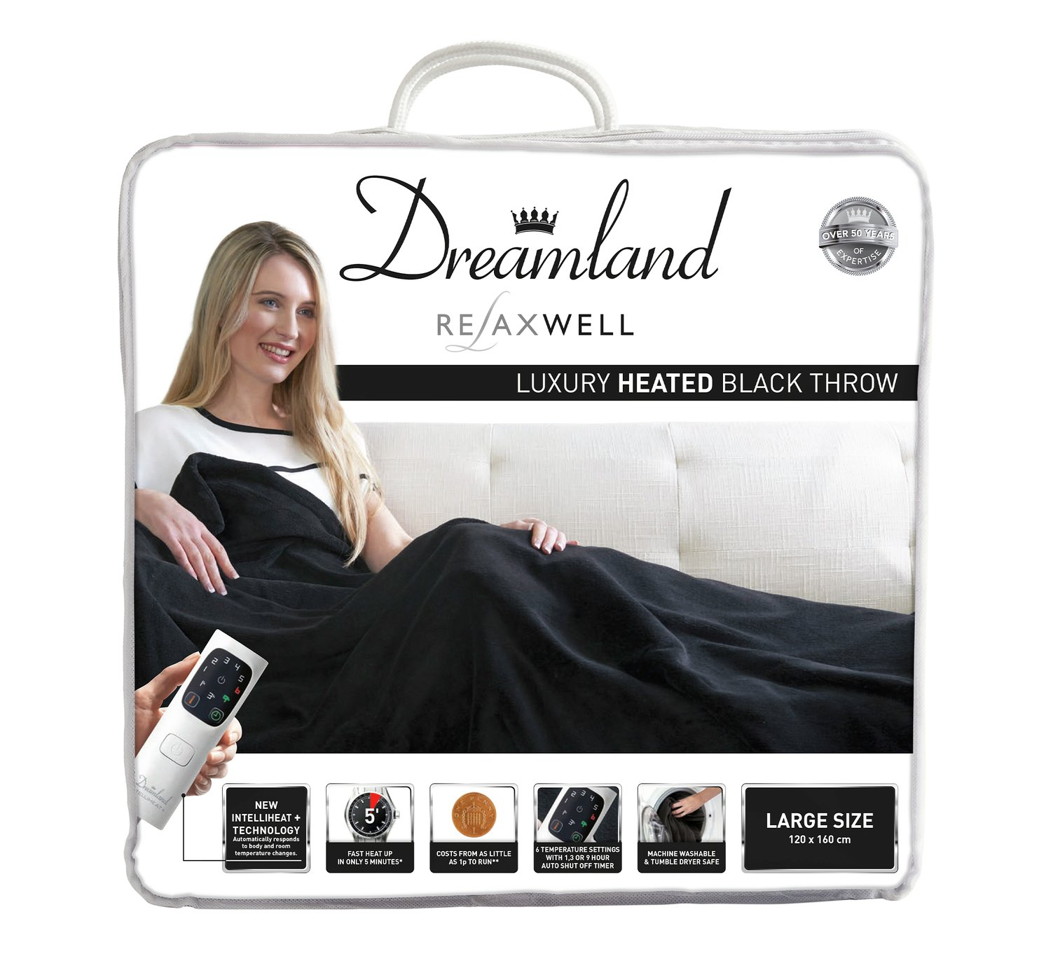 relaxwell by dreamland luxury velvety heated throw  black