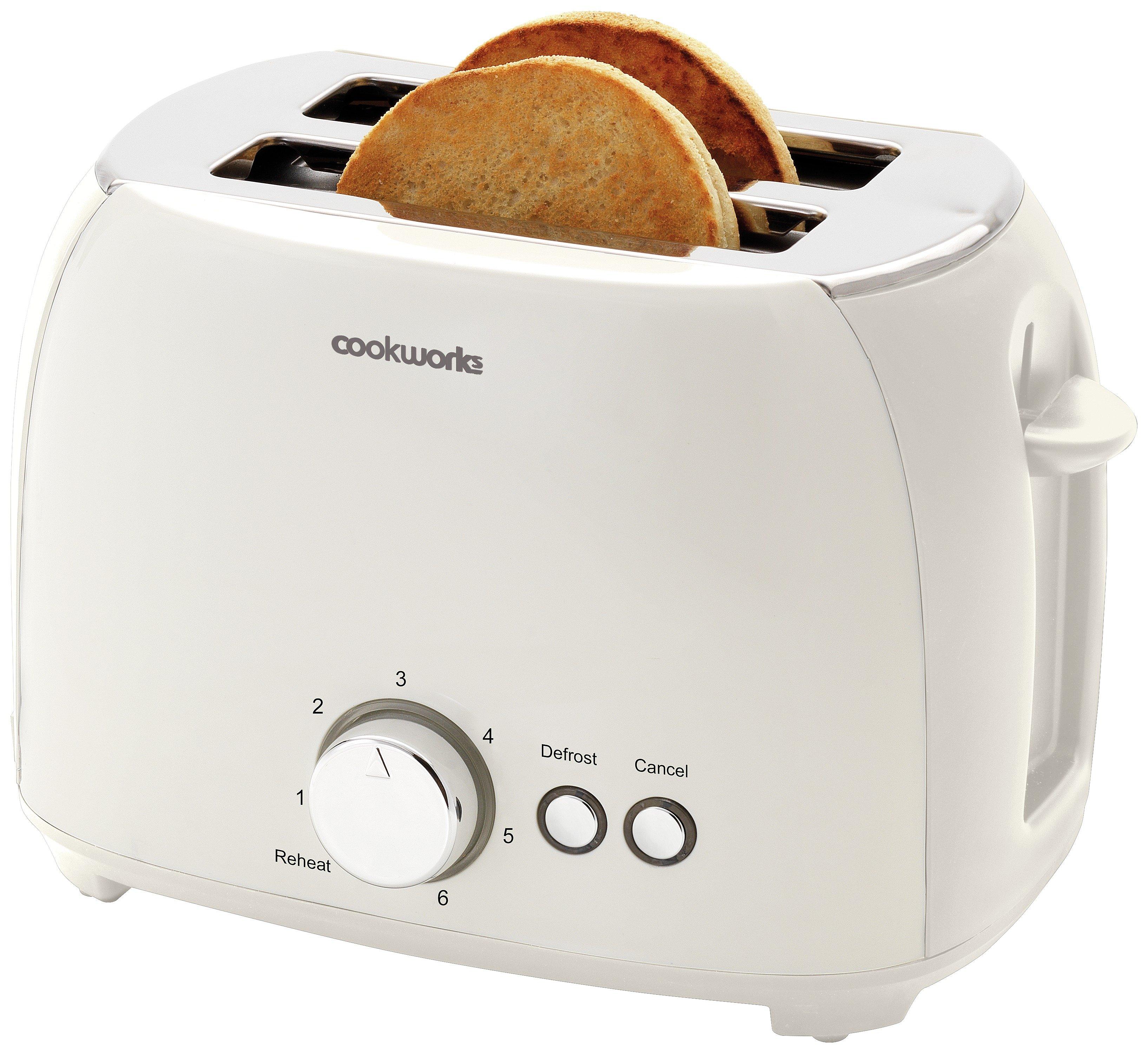 'Cookworks 2 Slice Toaster 800 Watts - White