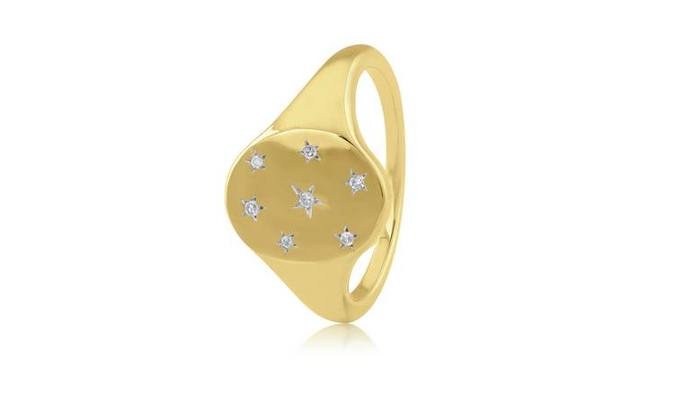 Revere 9ct Gold Plated 0.04ct tw Diamond Star Signet Ring- M