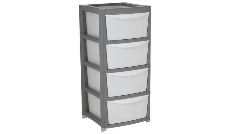 Argos Home Plastic Storage 4 Drawers - Grey and White