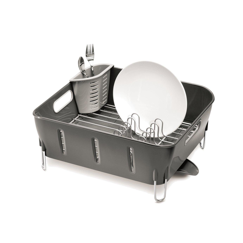 simplehuman Plastic Compact Dish Rack - Grey