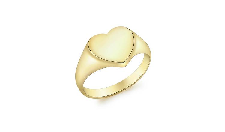 9ct Gold Personalised Heart Signet Ring - Q