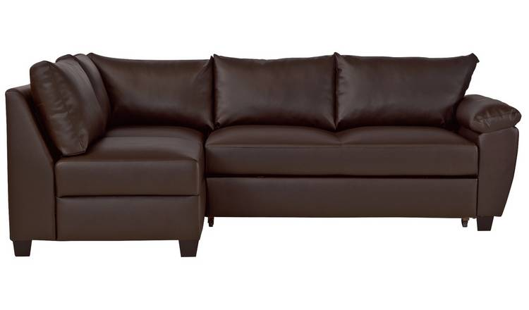 Argos Home Fernando Left Corner Sofa Bed - Dark Brown