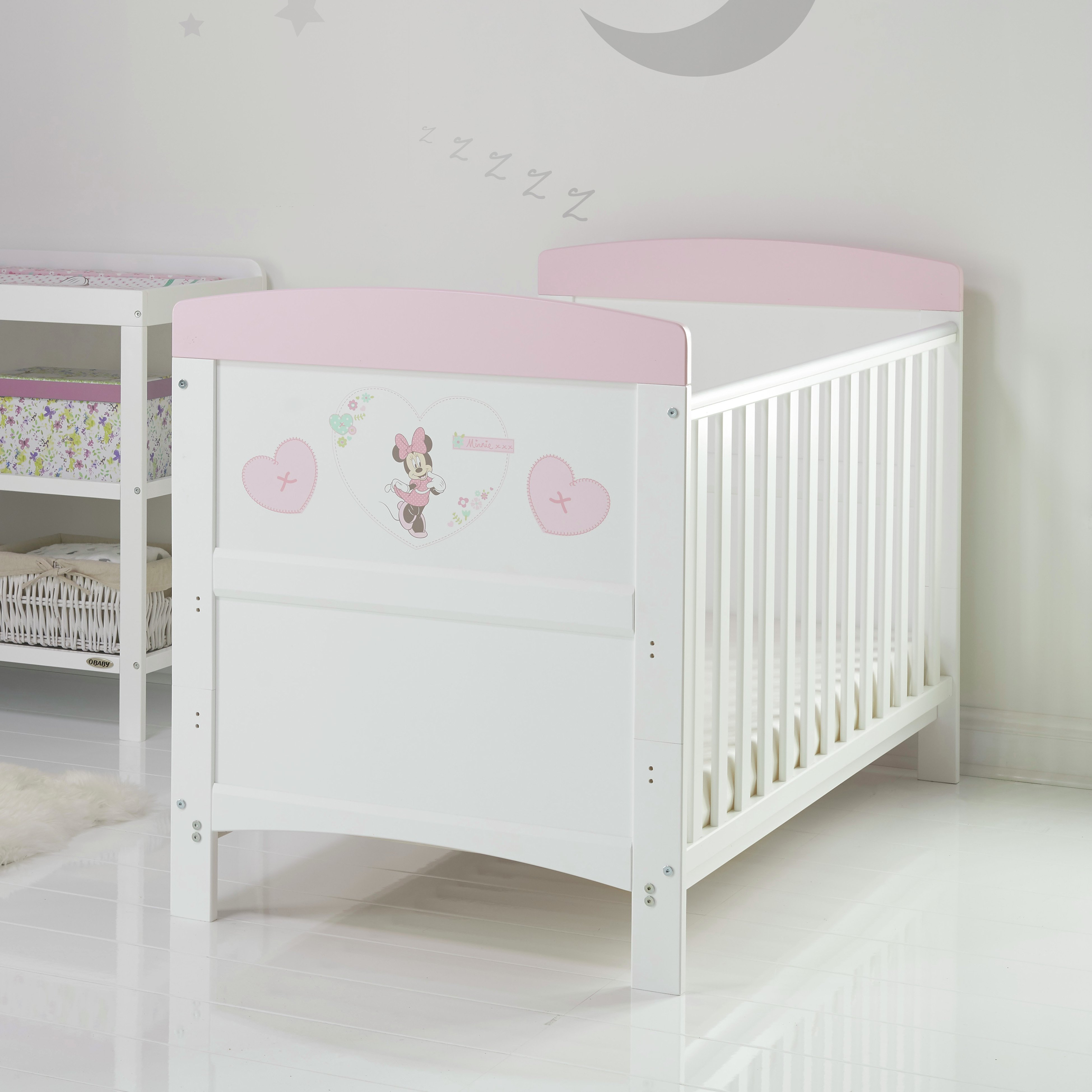 Image of Disney Minnie Mouse Cot Bed - Hearts