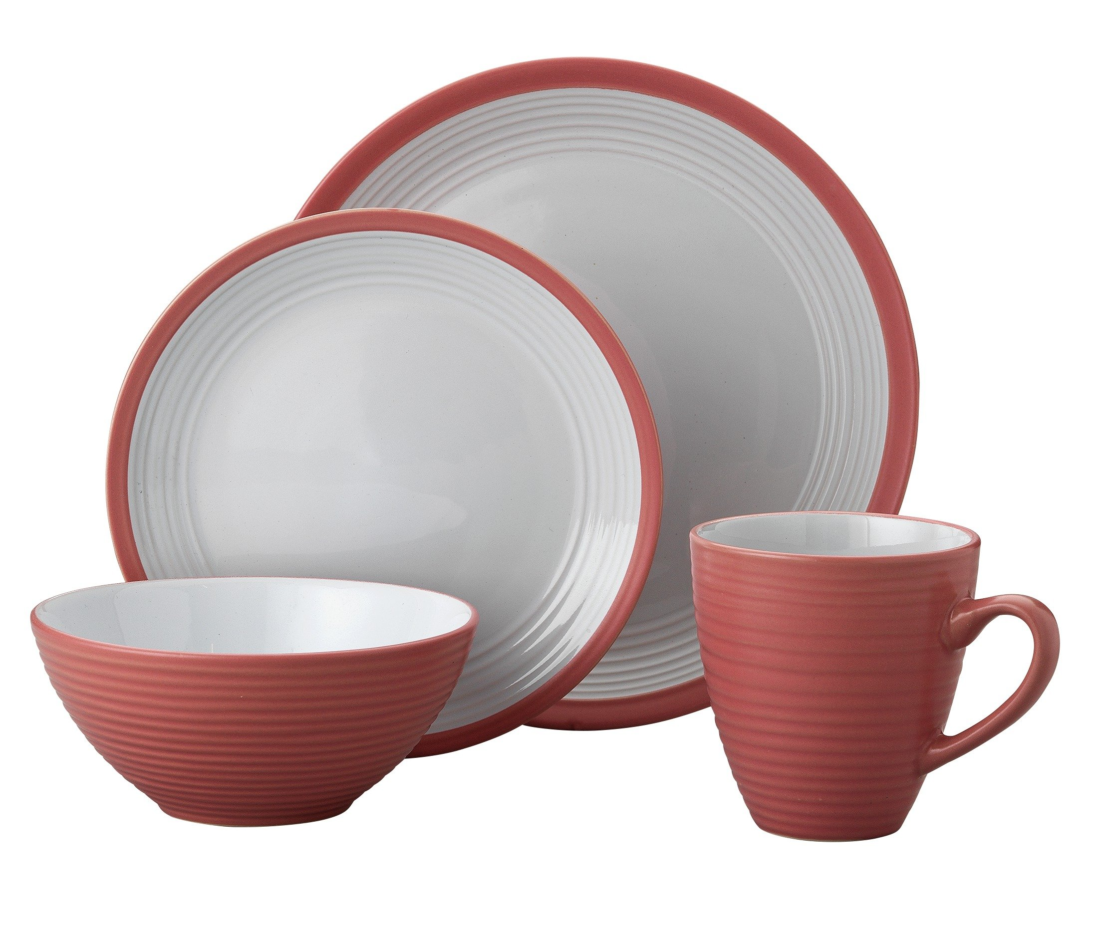 HOME 16 Piece Ribbed Stoneware Dinner Set - Pink.