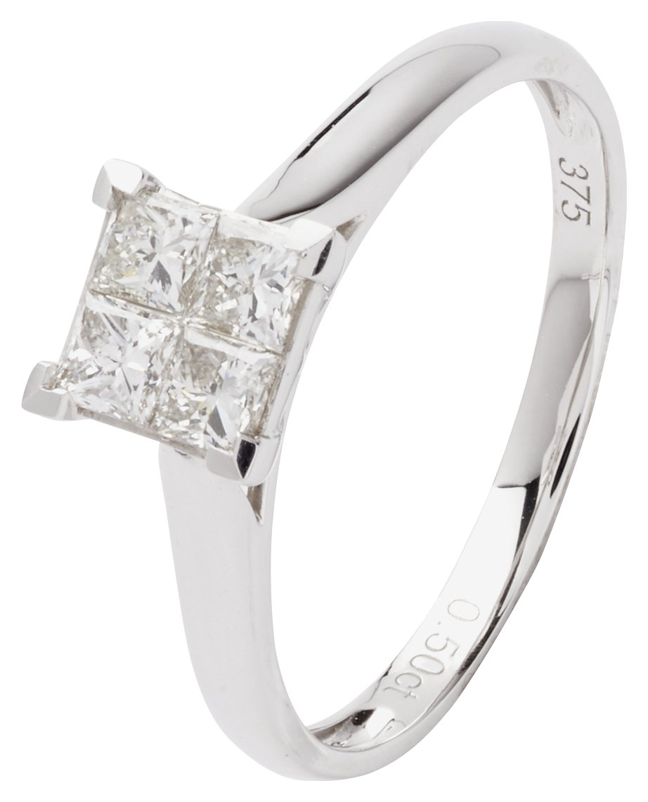 Revere 9ct White Gold 0.50ct tw Princess Cut Diamond Ring