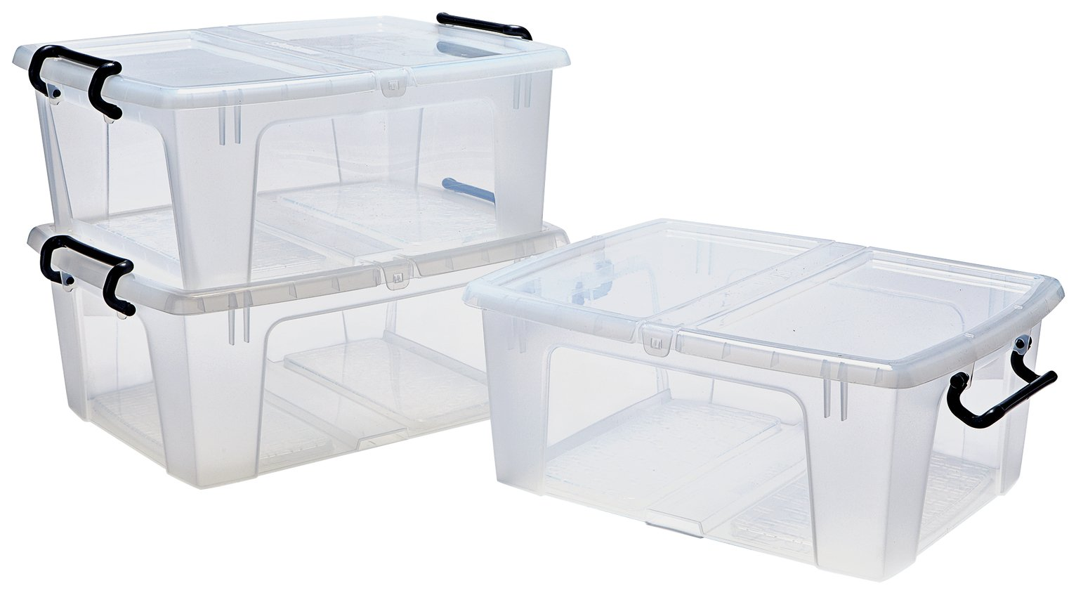 HOME 20 Litre Front Opening Plastic Storage Boxes - Set of 3