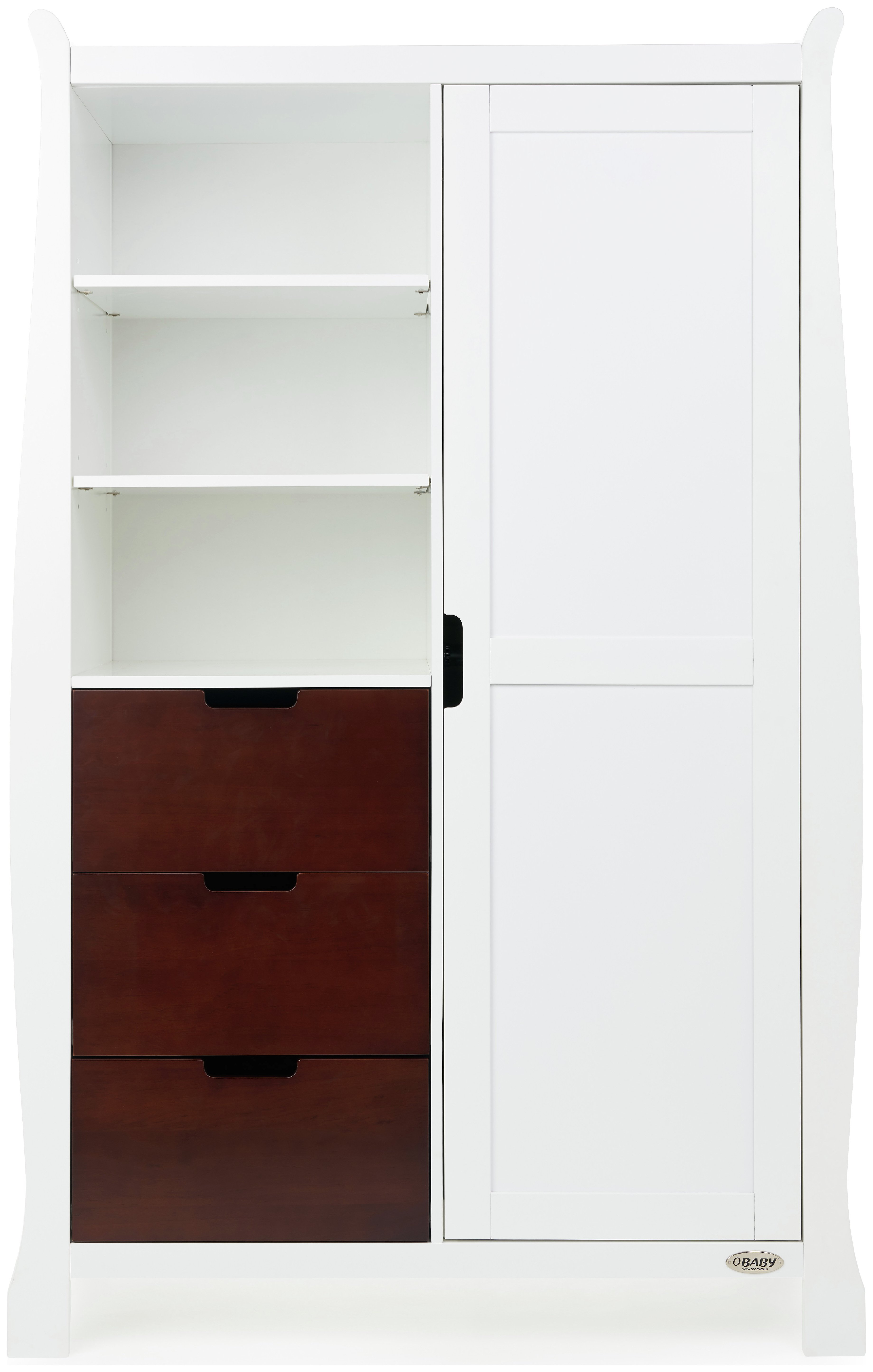 Obaby Stamford Wardrobe - White with Walnut