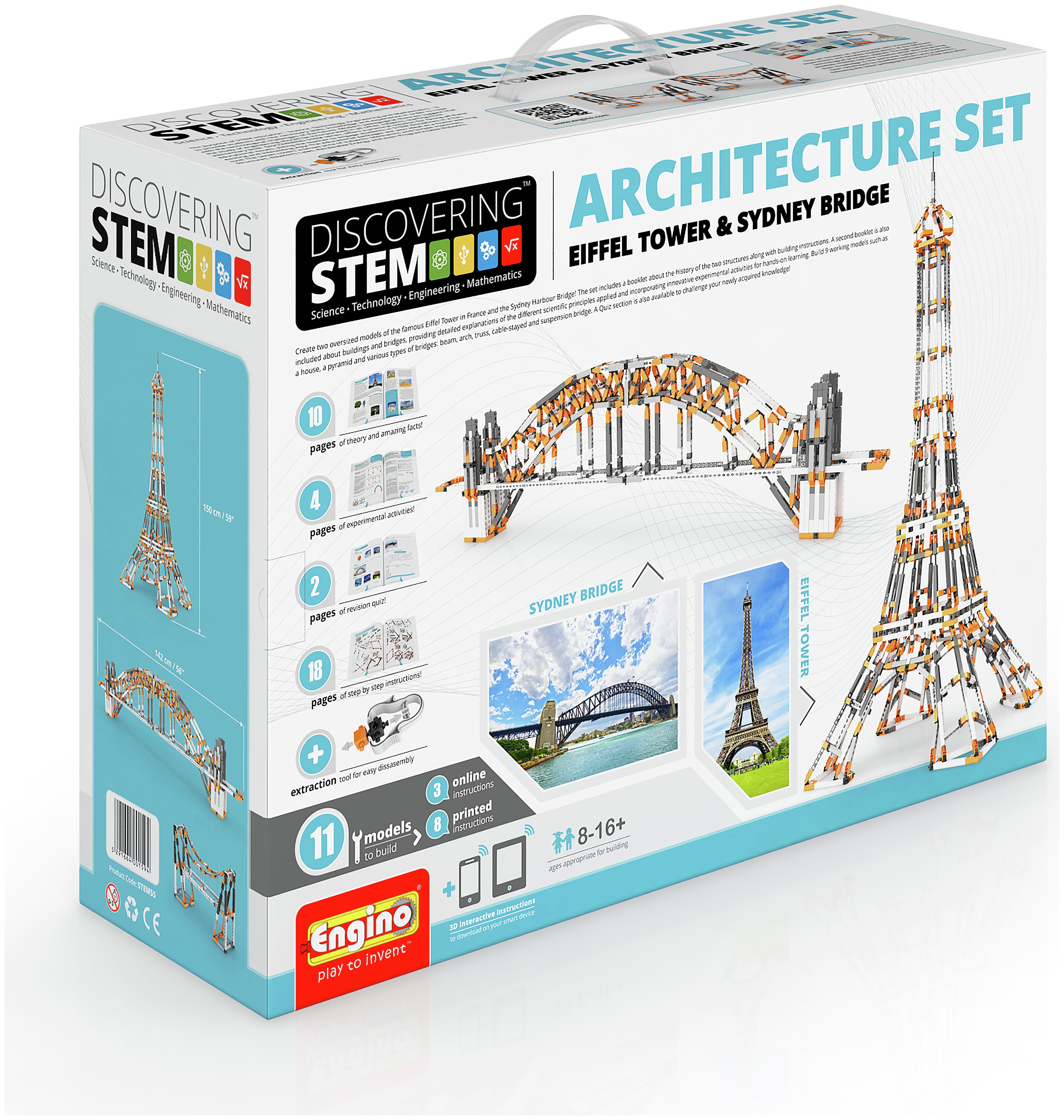 Image of Engino STEM Architecture Set - Eiffel Tower & Sydney Bridge.
