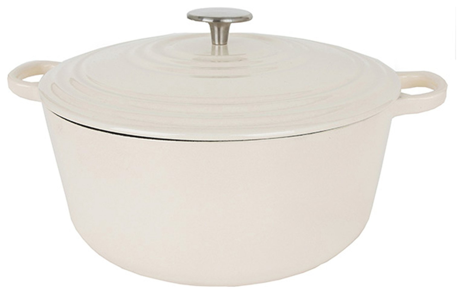 Sainsbury's Home 2.4 Litre Cast Iron Casserole Dish - Cream