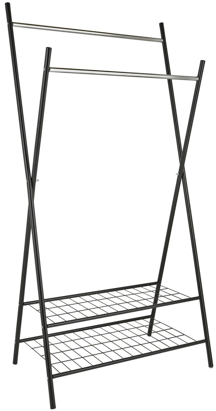 Image of Collection X-Frame Clothes Rail with Shelves - Black