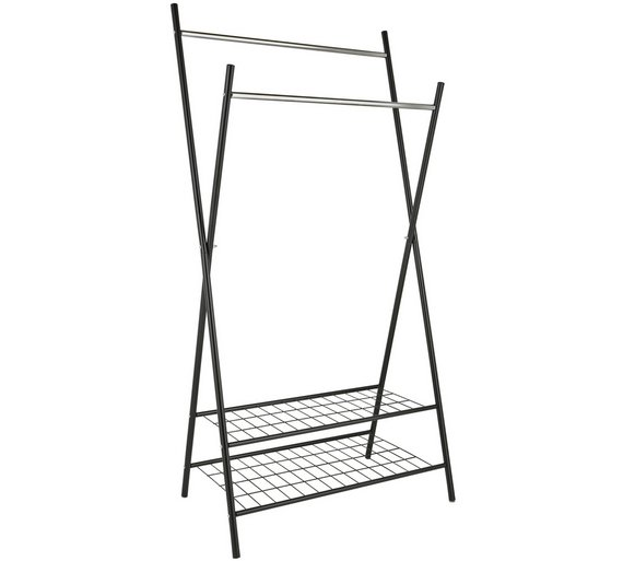 Buy Collection X-Frame Clothes Rail with Shelves - Black | Hanging ...