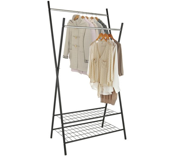 Buy Argos Home X-Frame Clothes Rail with Shelves - Black | Hanging ...