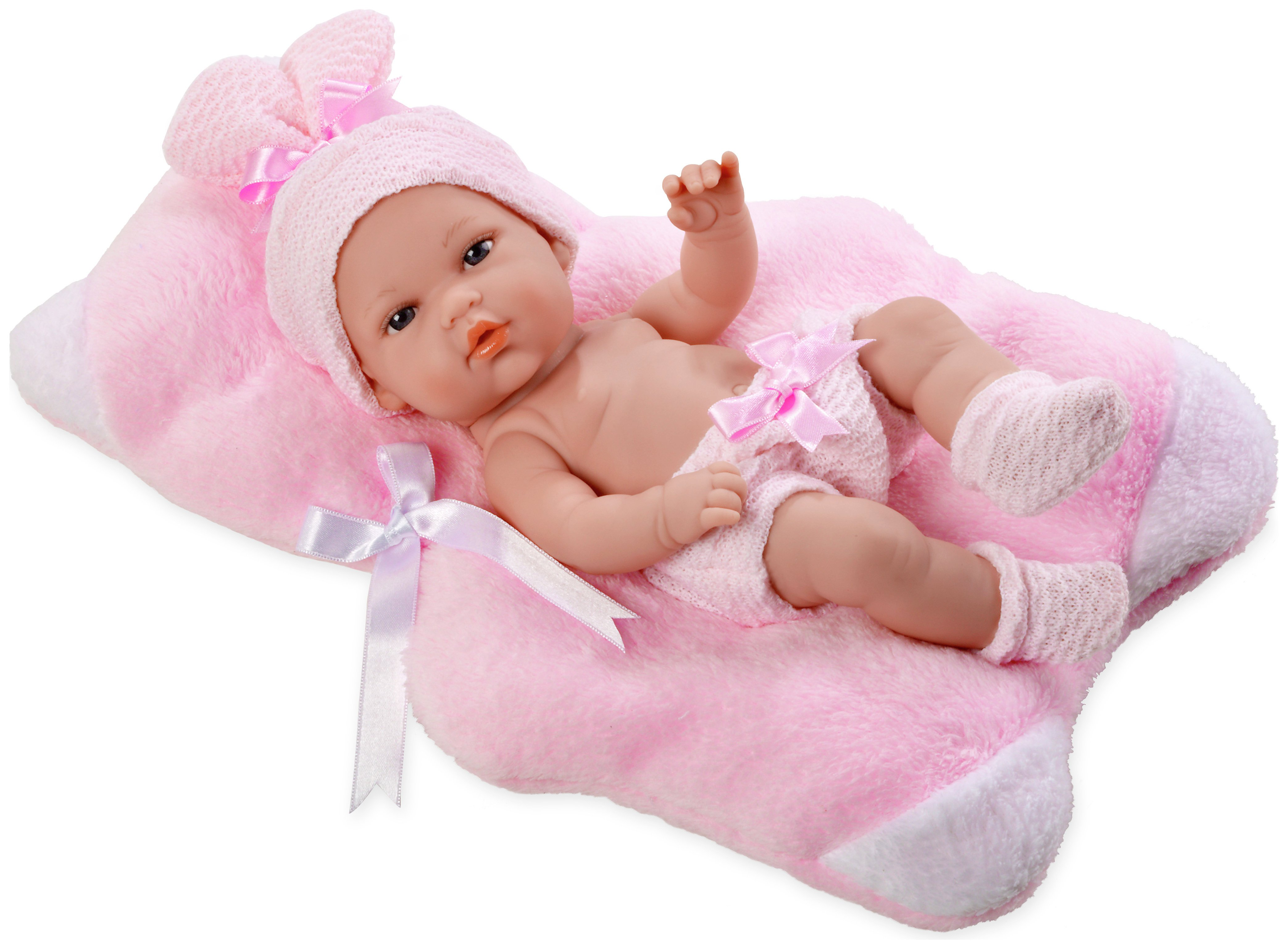 Image of Arias Elegance Natal Doll with Pink Cushion.