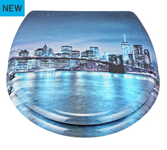 Buy HOME New York Skyline Slow Close Toilet Seat At Argoscouk - Blue soft close toilet seat