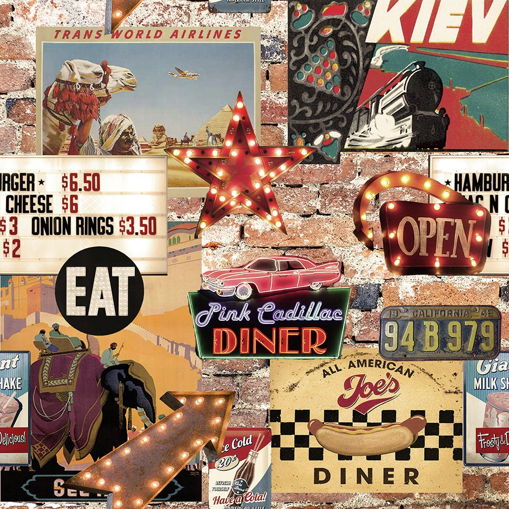 arthouse american diner wallpaper 7235012 argos price tracker. Black Bedroom Furniture Sets. Home Design Ideas