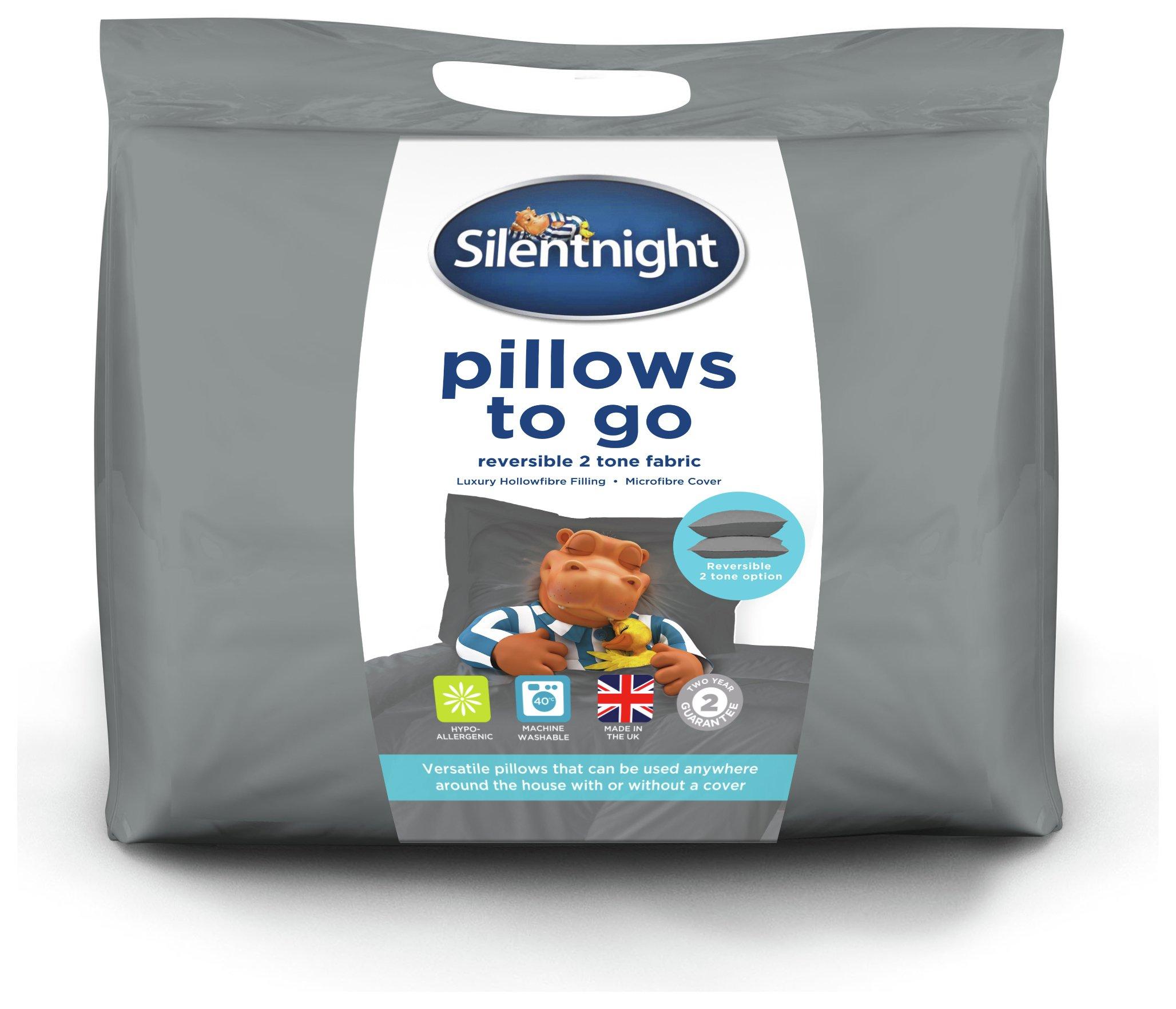 silentnight plain dye pair of easy reversible pillows