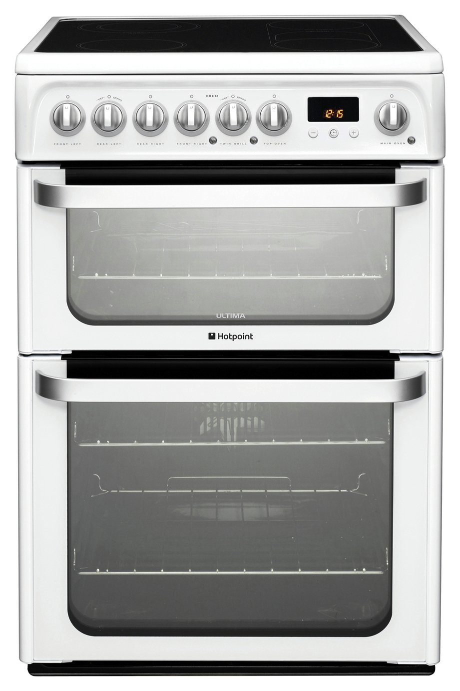 Hotpoint HUE61PS Double Oven Cooker - White Best Price and Cheapest