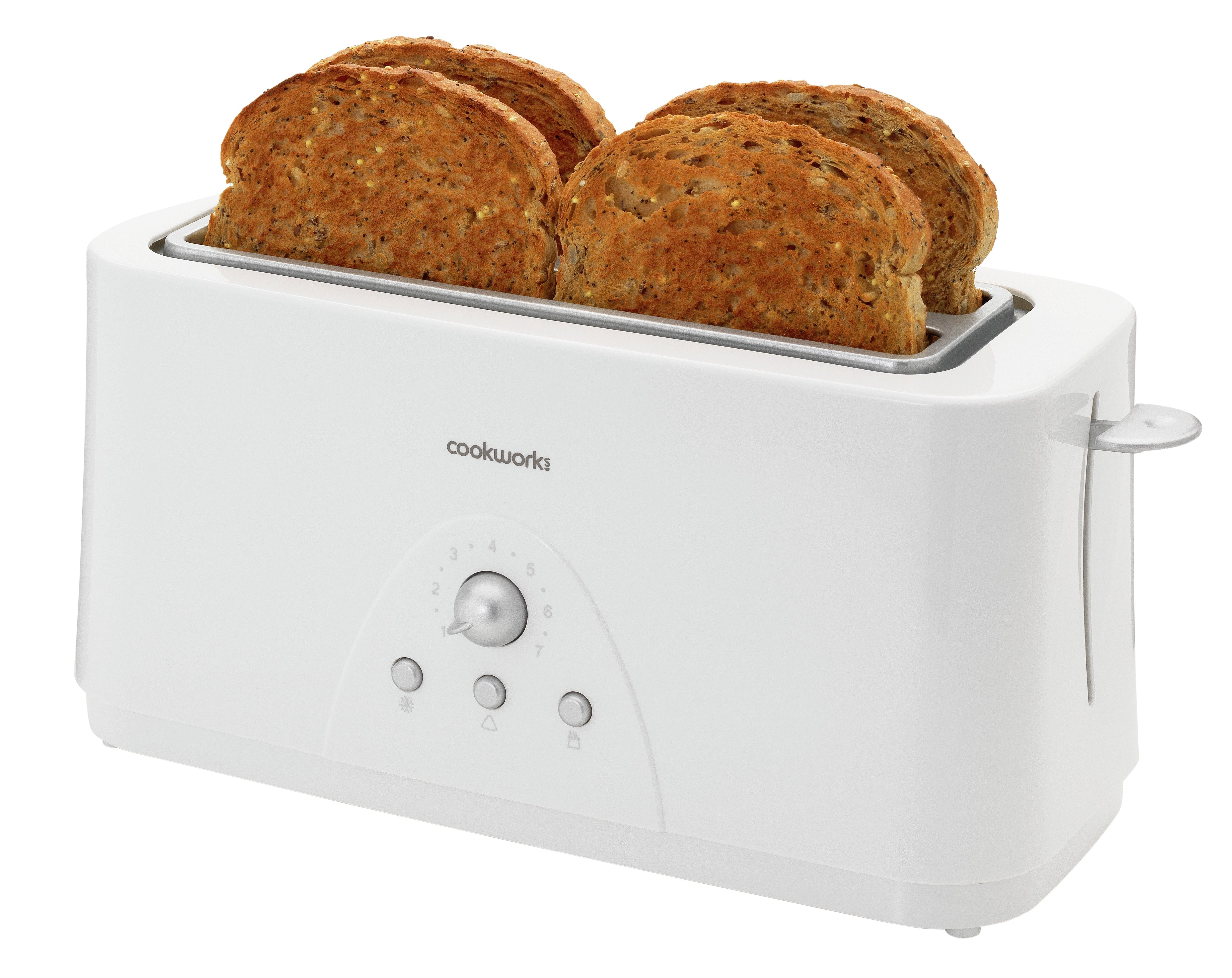Image of Cookworks Long Slot 4 Slice Toaster - White