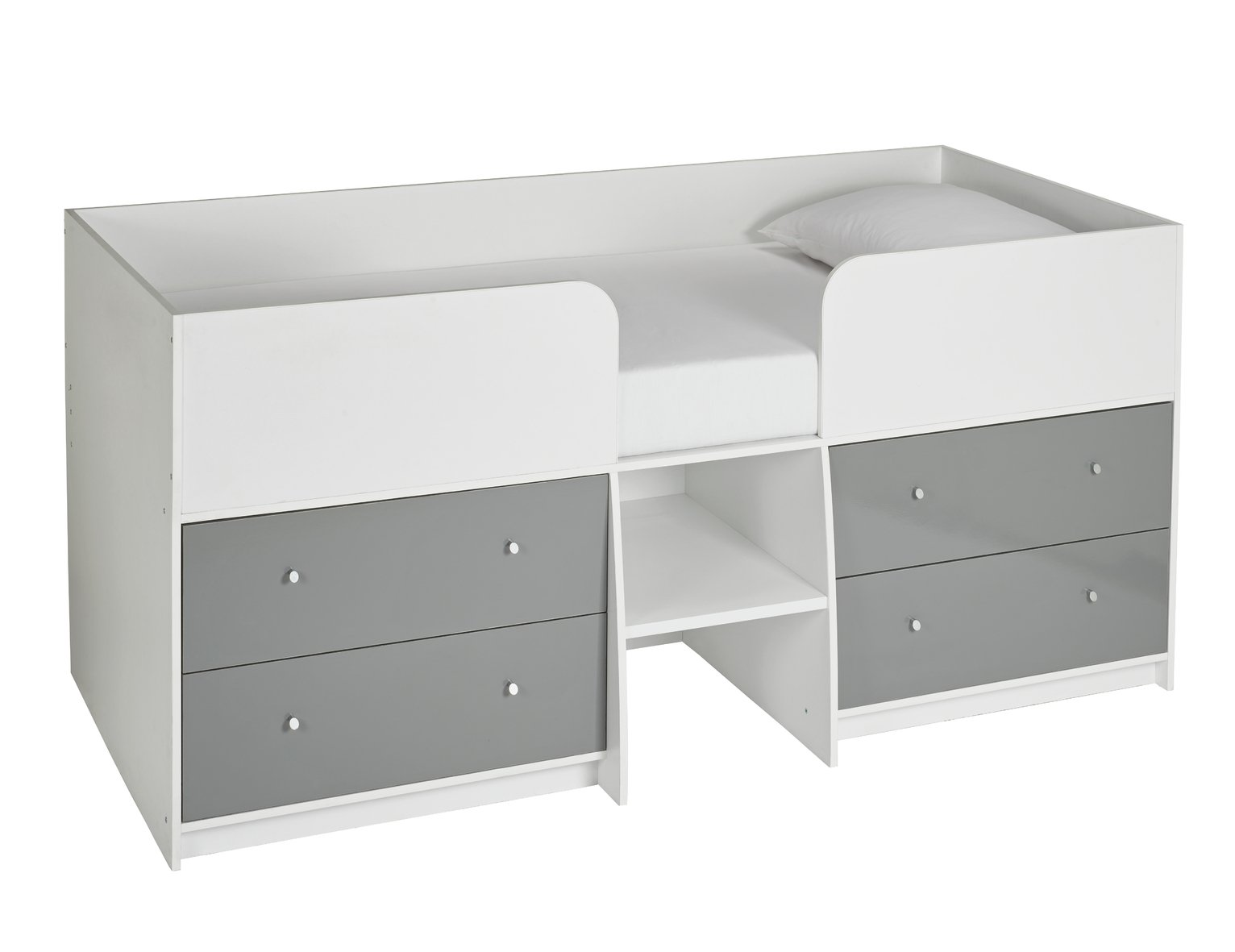 Argos Home Malibu Shorty Mid Sleeper - White & Grey Gloss